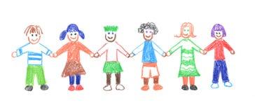 Дети рука об руку Стоковое Фото