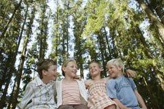 Дети сидя рука вокруг в лесе стоковое фото rf