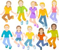 Дети скачут совместно, счастливые стороны Стоковые Фотографии RF
