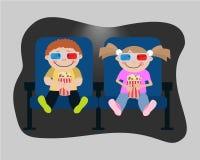Дети смотрят кино в кино Стоковое Изображение RF