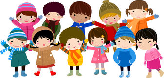 дети собирают счастливое Стоковые Фотографии RF