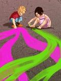 Дети спешат на асфальте иллюстрация вектора