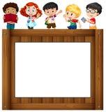 Дети стоя вокруг рамки иллюстрация штока