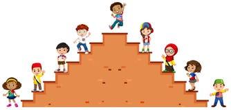 Дети стоя на лестницах иллюстрация вектора