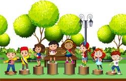 Дети стоя на имени пользователя парк бесплатная иллюстрация