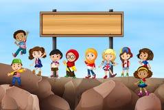 Дети стоя под знаком бесплатная иллюстрация