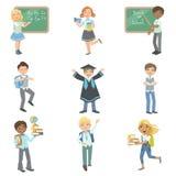 Дети счастливые для того чтобы находиться в школе иллюстрация штока