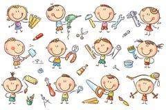 Дети с инструментами иллюстрация вектора