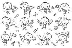 Дети с инструментами бесплатная иллюстрация