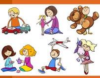 Дети с комплектом шаржа игрушек бесплатная иллюстрация