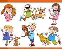 Дети с комплектом шаржа любимчиков иллюстрация вектора