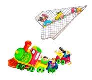 Дети с самолетом и поездом Стоковые Фотографии RF