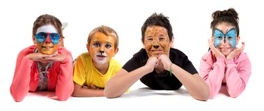 Дети с сторон-краской стоковые изображения