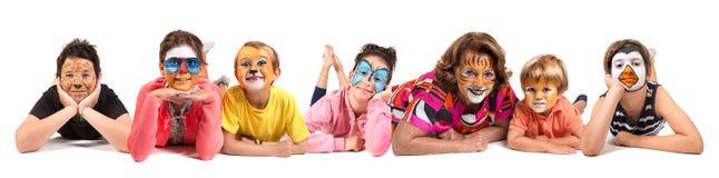 Дети с сторон-краской стоковые изображения rf