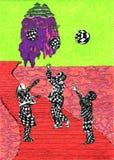 Дети с сферами Бесплатная Иллюстрация