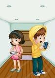 Дети с таблетками и телефоном бесплатная иллюстрация