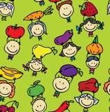 Дети с текстурой овощей иллюстрация вектора