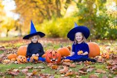 Дети с тыквами в костюмах хеллоуина Стоковая Фотография