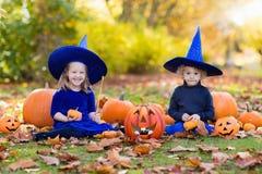 Дети с тыквами в костюмах хеллоуина Стоковое Изображение RF