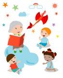 Дети слушая к их бабушке говорят рассказ, открытую книгу с драконом, воображением, иллюстрацией вектора Стоковое фото RF