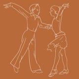 Дети танцуя пары Иллюстрация вектора