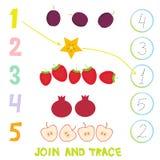 Дети уча материал 1 до 5 номера Соедините и следуйте Иллюстрация шаржа образования подсчитывая игру для детей дошкольного возраст Стоковые Изображения