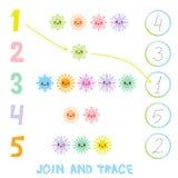 Дети уча материал 1 до 5 номера Соедините и следуйте Иллюстрация образования подсчитывая игру для детей дошкольного возраста Snow Стоковое Изображение