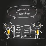 Дети уча совместно бесплатная иллюстрация