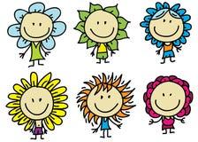 Дети цветки иллюстрация штока
