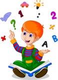 Дети читая книгу пока значки связанные образованием завишут на заднем плане для вас дизайн иллюстрация штока