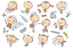 Дети чувствуя нездоровый бесплатная иллюстрация