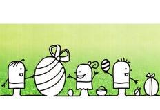 Дети шаржа и день пасхи иллюстрация штока