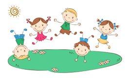 Дети шаржа скача Стоковое Фото