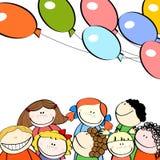 дети шариков предпосылки белые иллюстрация вектора