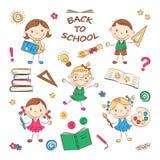 Дети школы шаржа Стоковое Фото