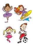 дети 4 характеров Стоковые Изображения