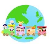 Дети AEC азиатские на поезде иллюстрация вектора