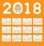 Дети calendar на год 2018 стены или стола Стоковые Изображения
