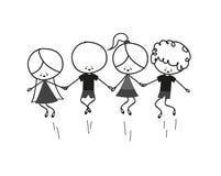 Дети Doodle скача Стоковое Изображение