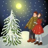 дети landscape снежное Стоковые Изображения RF