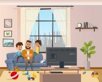 Дети Messing вокруг уставший надоеданный сердитый отец иллюстрация вектора