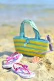 дети s пляжа вспомогательного оборудования Стоковое Изображение