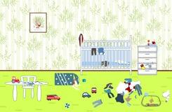 Дети untidy и грязная комната Игрушки и одежда разбросанные ребенком Комната ` s детей Беспорядок в доме Стоковая Фотография RF