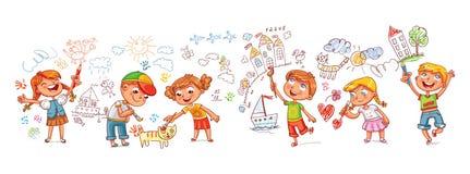 детсад Мальчики и девушки рисуя scribbles изображений на стенах иллюстрация вектора