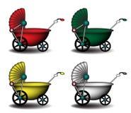 детские дорожные коляски цветастые иллюстрация штока