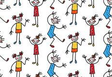 Детские нарисованные девушки характеров ягнятся безшовная картина вектора бесплатная иллюстрация