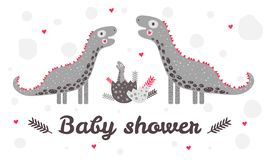 Детский душ шаблона Динозавр питомника милый Мать, отец и ребенок biro Яичко Красные, серые цвета Для поздравительных открыток иллюстрация вектора