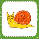 Детский покрашенный значок животного улитки Стоковое Изображение