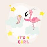 Детский душ или карточка прибытия - звезды девушки фламинго младенца заразительные Стоковые Изображения