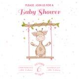 Детский душ или карточка прибытия с жирафом младенца иллюстрация штока